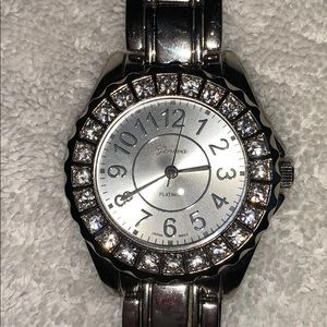 Geneva Women's Silver-tone Watch w/ Crystal Accent
